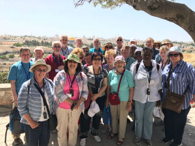 group visiting Holy Land, on Mt of Olives, May 2017