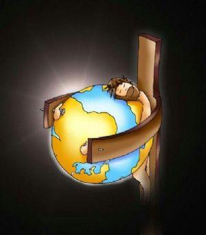 Jesus' arms around the world