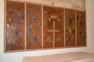 Lady chapel screen of embossed hide