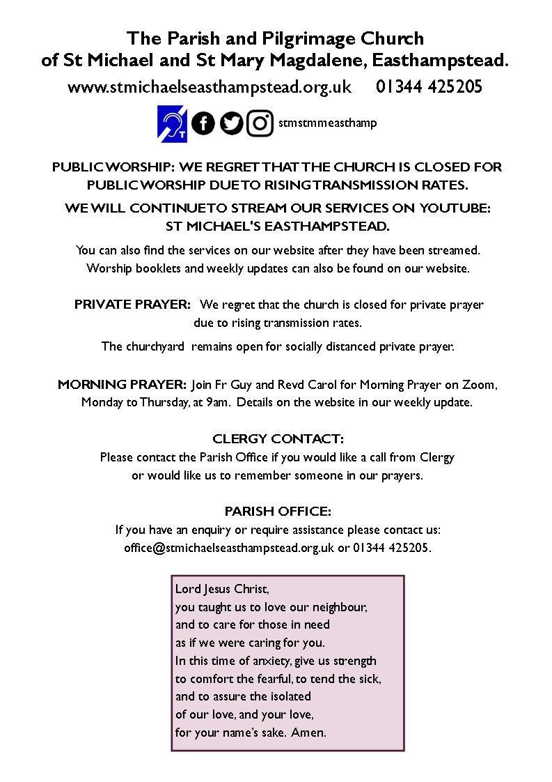 Church closure notice January 2021