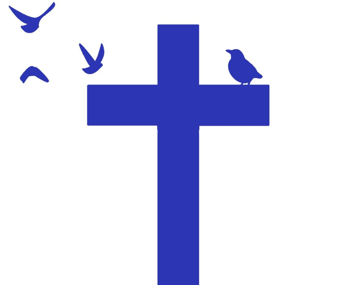St Francis and St Clare logo, blue cross with birds flying around and landing on cross