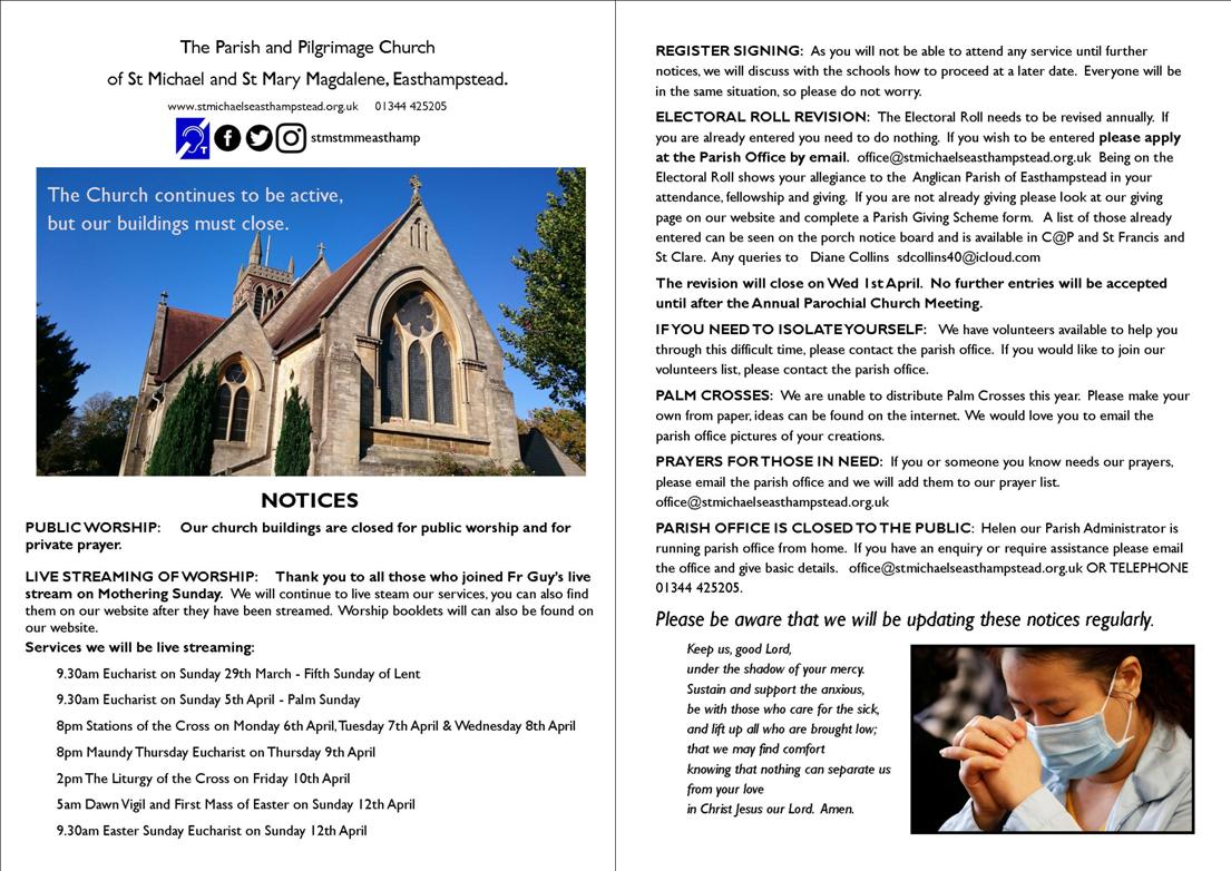 Notices 25-3-2020 with information about church closure and services