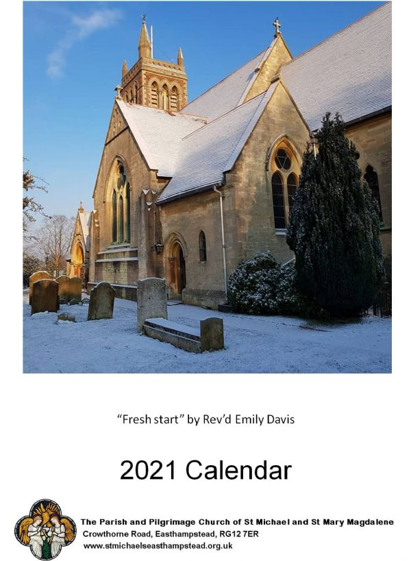 A photo of St Michaels in the snow with blue sky from the front cover of our 2021 calendar