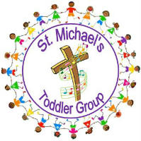 Cross with St Michaels Toddler Group around it surrounded by a circle of children all holding hands