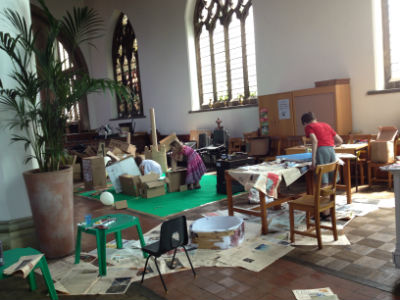 Cardboard City in the church