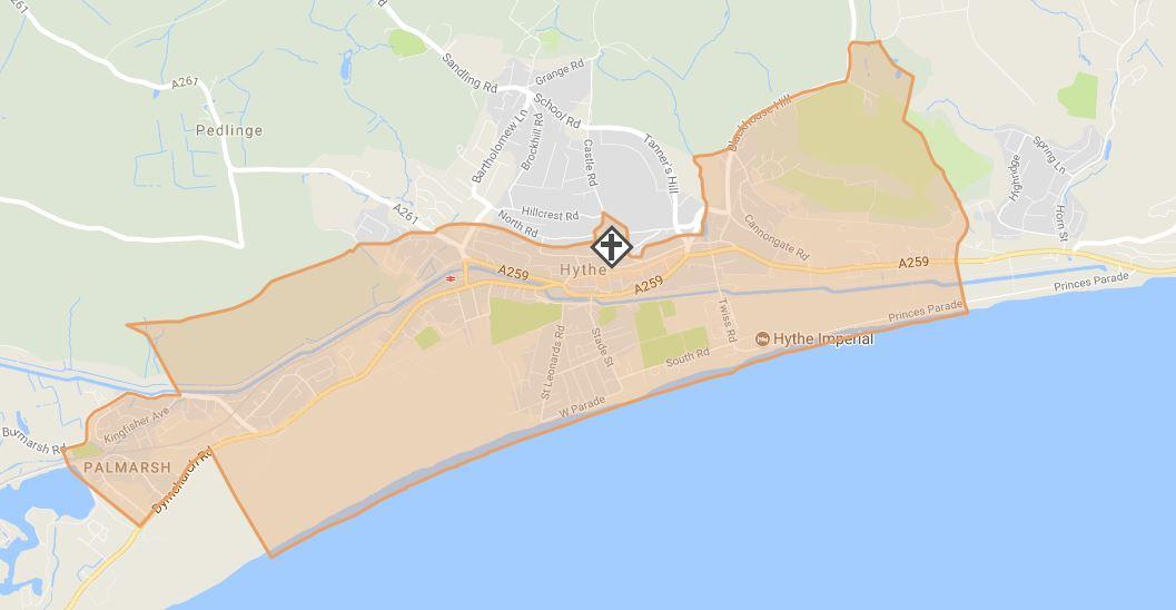 Map showing Hythe parish boundary