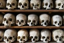 A picture of skulls in the ossuary of St Leonards