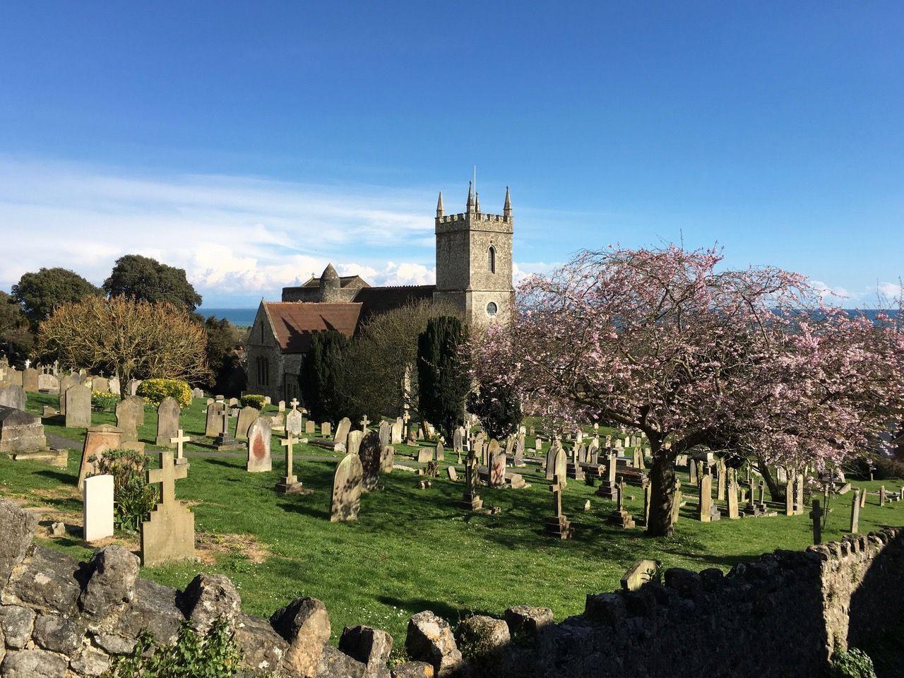 Springtime view of St Leonard's church