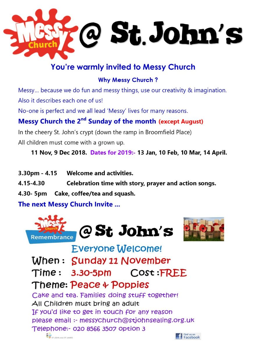 Messy Church Webpage for November