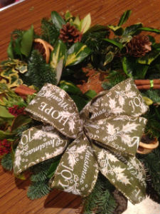 A Christmas Wreath made at our recent workshop