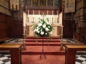The flower pedestal at the High Altar on Easter Day 2013