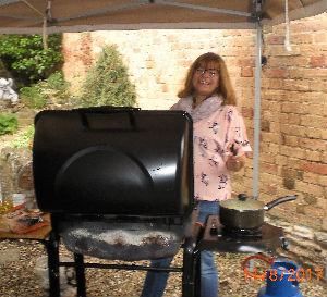 Sue our leader preparing the barbeque