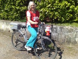 Kath Saunders on her bike
