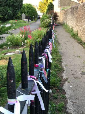 Prayer ribbons outside Hilperton Church 1
