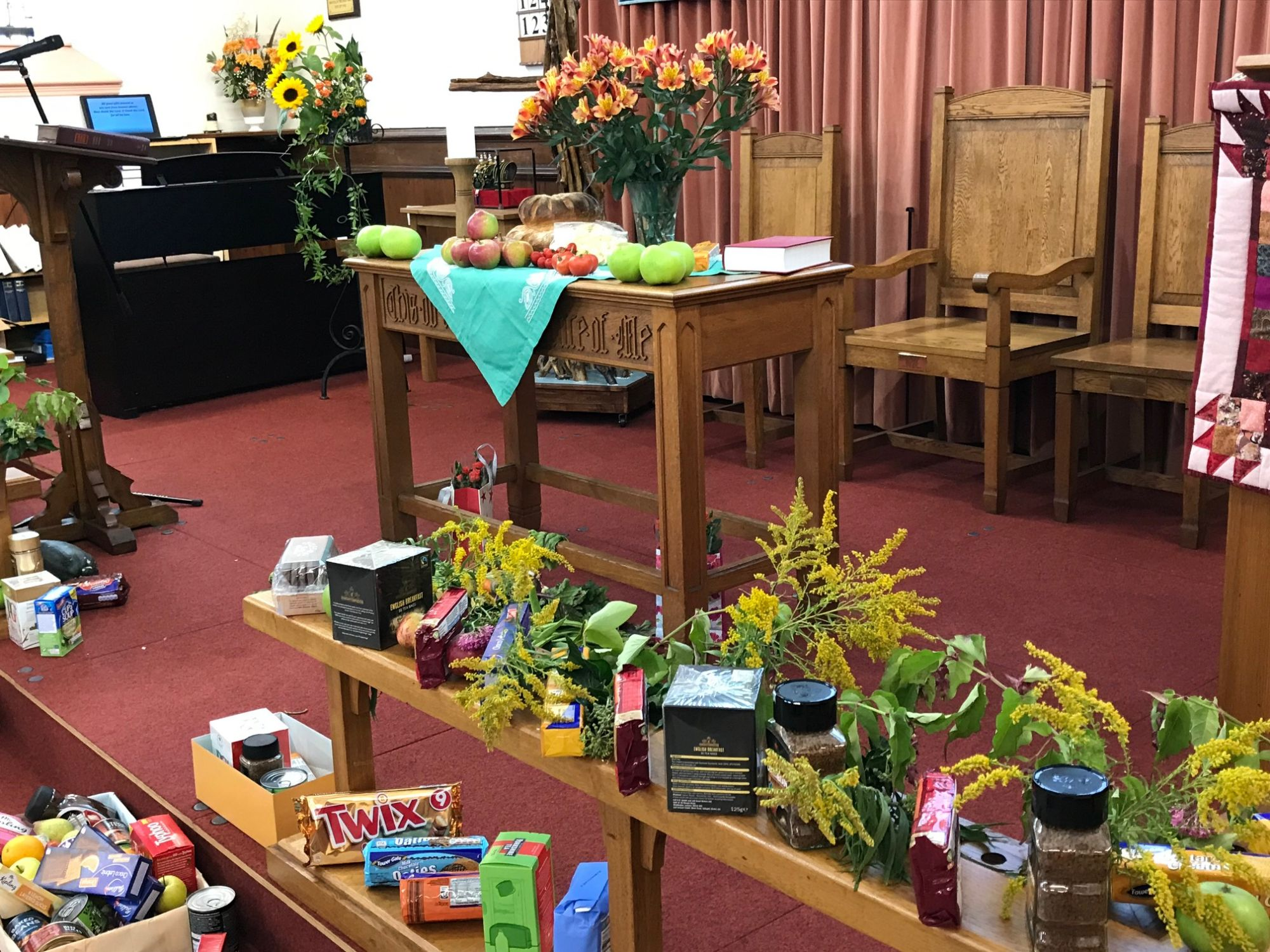 Display of Harvest gifts at the front of the Church
