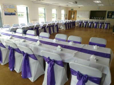 Hall set up for a wedding afternoon tea