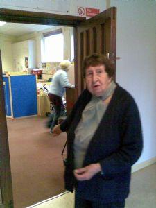 Muriel on door at Toddlers