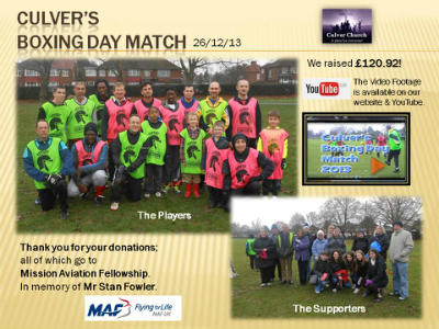 Boxing Day Match in memory of Stan Fowler