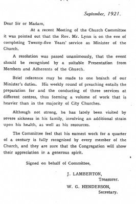 History Letter 1921