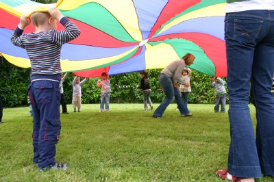 Holiday Bible Club, great fun with the parachute