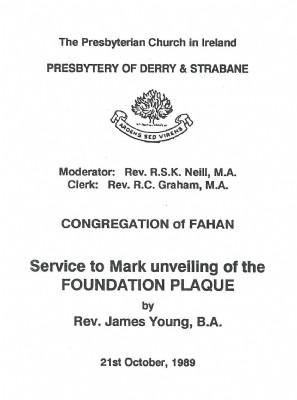 History Foundation Plaque 1989