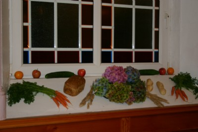 Bread fruit vegetables and flowers at Harvest Than