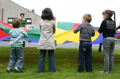 Fahan Holiday Bible Club, parachute fun in good weather