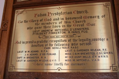 War Memorial, 1914 - 1918, Fahan Presbyterian Church