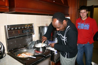 Austin cooking at Youth Fellowship