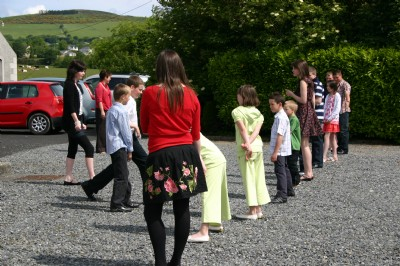 Line up during games at Childrens Day, Fahan.
