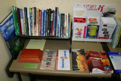 A selection of books for visitors and members to e