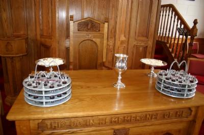 Communion elements of Bread  & Wine at Fahan Presbyterian Church