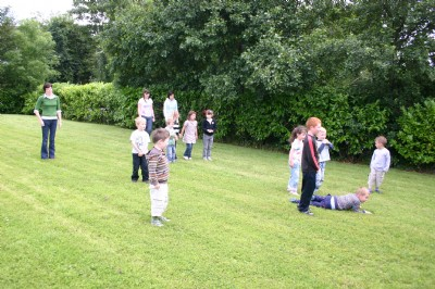 Great fun on the grass during the Fahan Holiday Bible Club.