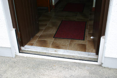 Malin Presbyterian Church flood barrier at front door