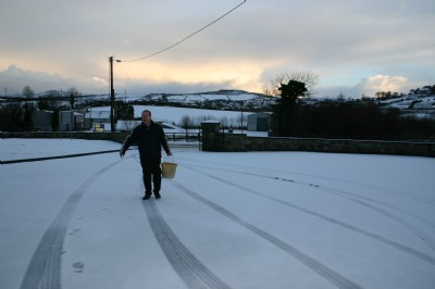 A caretakers work is never done, Fahan in the snow