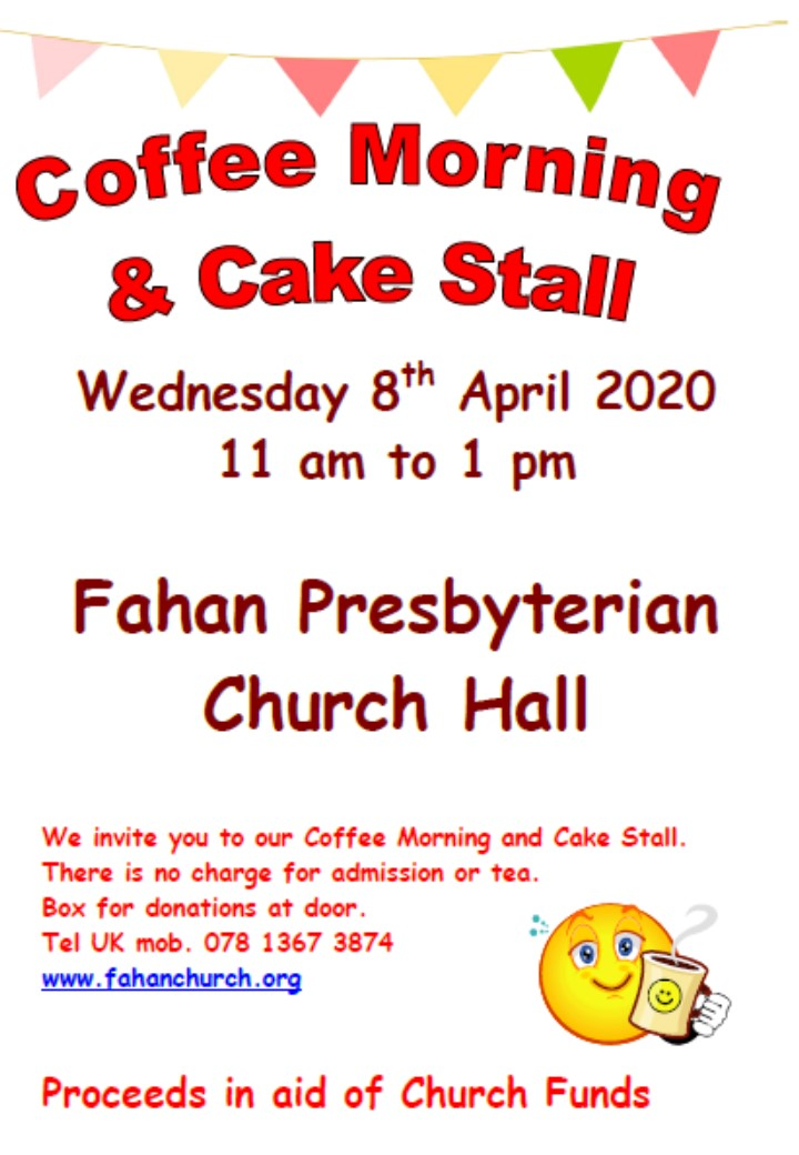 Easter Coffee Morning & Cake Sale flyer, poster Wed 08-04-2020