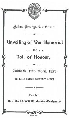 History War Memorial 1921