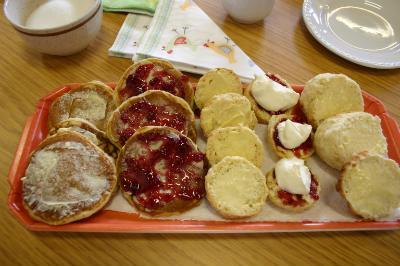 Pancakes and scones with cram  jam, Fahan