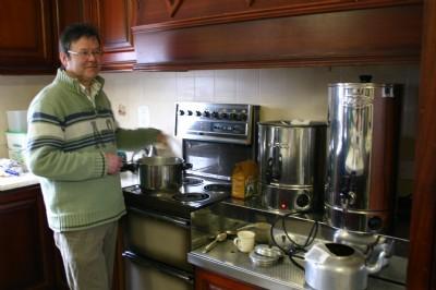 Burco boiler for Fair vTrade tea. Watch the milk does not boil over.