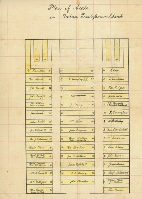 Fahan Presbyterian Church, Plan of seats from around the end 1800