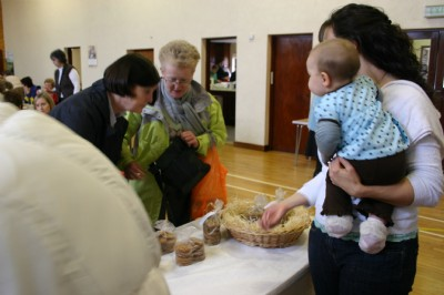 Babies, children and adults all keen to buy at Fahan Presbyterian Church Sale.