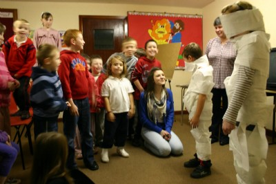 Toilet paper and great fun at the Rainbow Club in Fahan Presbyterian Church