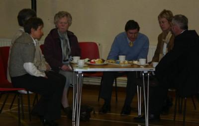 Visitors enjoy tea after an Easter Special Service