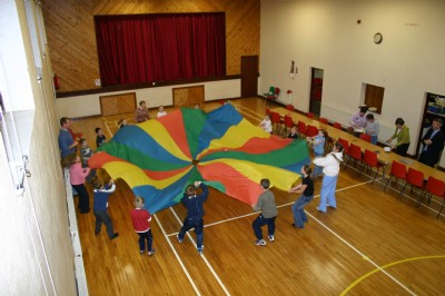Parachute game is a favourite with the children