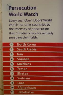 Christian Persecution World Watch North Korea, Saudi Arabia, Iran, Somalia, Maldives, Yemen etc.