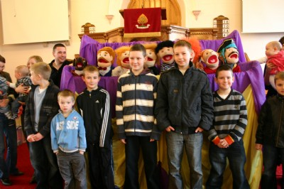 Crown Jesus Ministries puppets at Fahan on Sunday morning