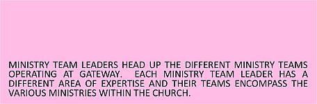 Ministry Team Leaders Header