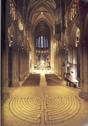 Ancient medieval labyrinth in Chartres Cathedral