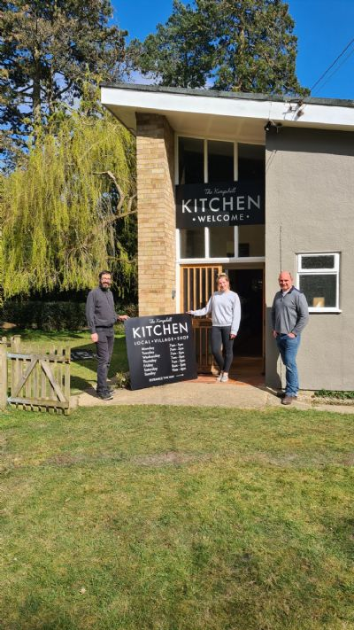 Exterior shot of the Kingshill Kitchen featuring L-R Rev Martin Hatfield, florist Rachael and coffee shop owner Silvio Ciccone