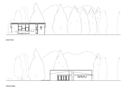 artist's impression of existing and proposed halls